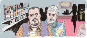 An artist's rendering of Roy Slates and Douglas Stangeland plotting in a bar. (Frank Cecala/The Star-Ledger)1