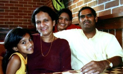 An undated photo of the Angara family. From left to right, daughter Priya Angara, mother Geetha Angara, daughter Pavithra Angara and father Jaya K. Angara. Not pictured is the couple's son, Vivek Angara. Geetha Angara, of Holmdel, died on Feb. 8, 2005, at the Passaic Valley Water Commission's treatment plant in Totowa. The case remains unsolved.